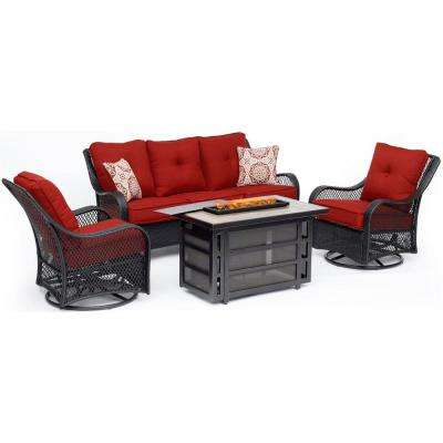 Orleans 4-Piece Wicker Patio Seating Set with Fire Pit Table with Autumn Berry Cushions