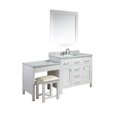 London 42 in. W x 22 in. D Vanity in White with Marble Vanity Top in Carrara White, Basin, Mirror and Makeup Table