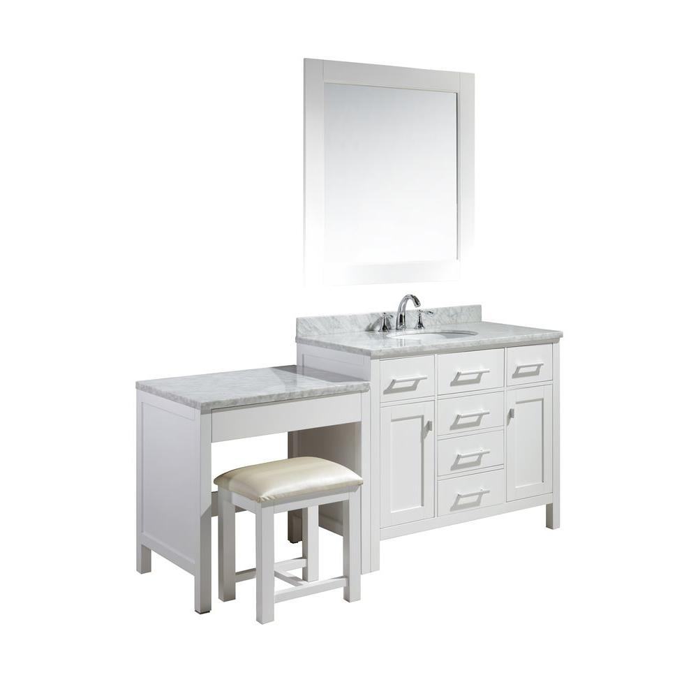 Design Element London 42 in. W x 22 in. D Vanity in White with ...