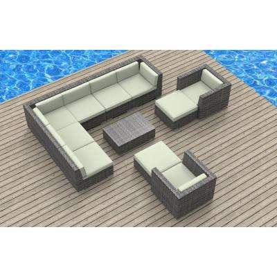 Aruba 11-Piece Wicker Outdoor Sectional Seating Set with Beige Cushions