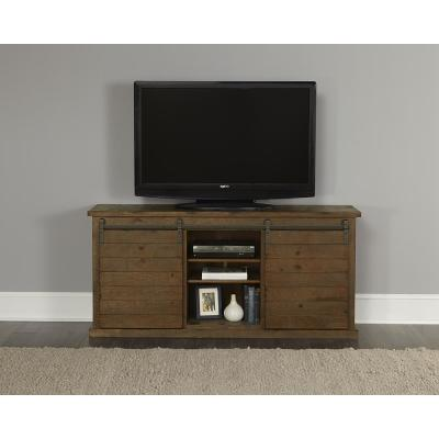 Huntington 64 in. Distressed Pine Wood TV Stand Fits TVs Up to 60 in. with Storage Doors