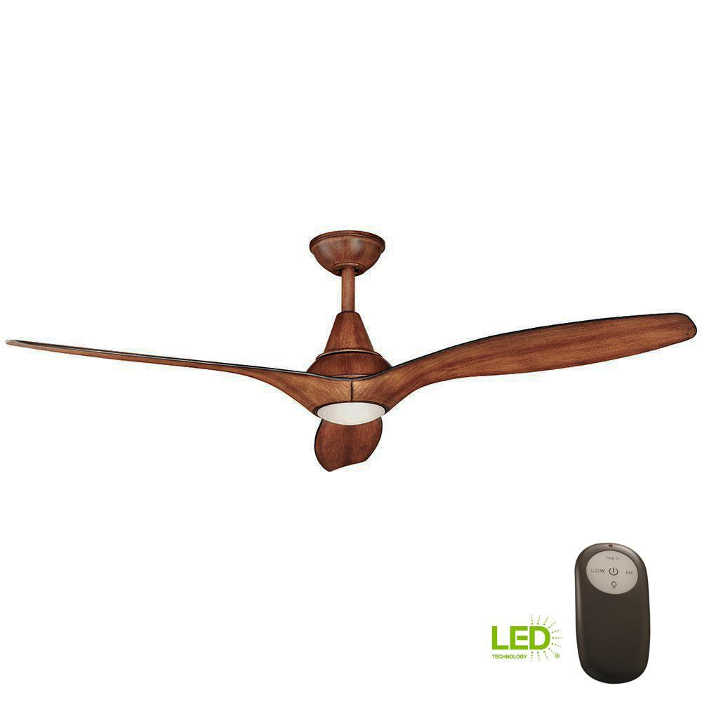 Home Decorators Collection Tidal Breeze 56 in. LED Indoor Distressed Koa Ceiling Fan with Light Kit and Remote Control
