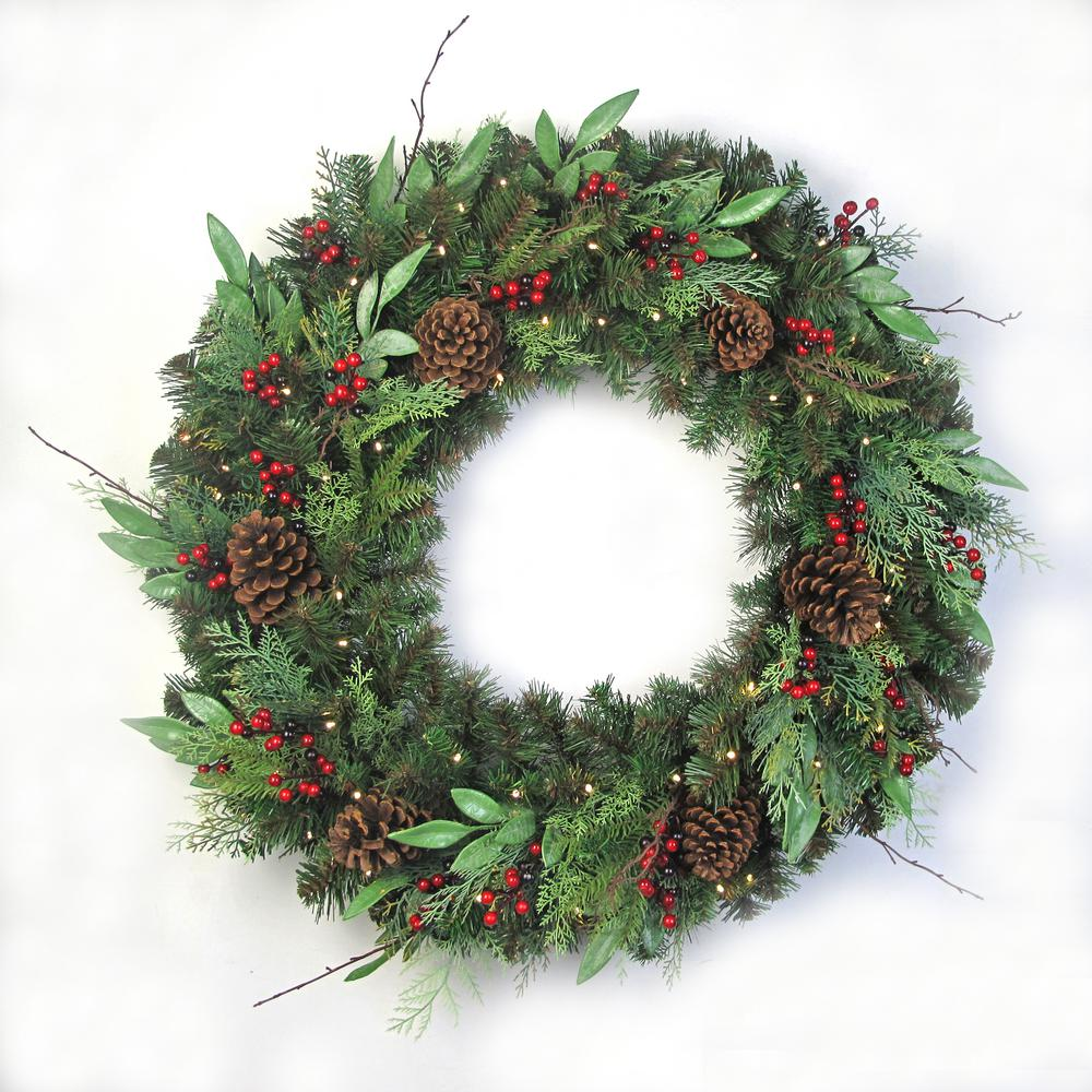 Home Accents Holiday 36 in. Pre-Lit LED Woodmoore Artificial Christmas Wreath