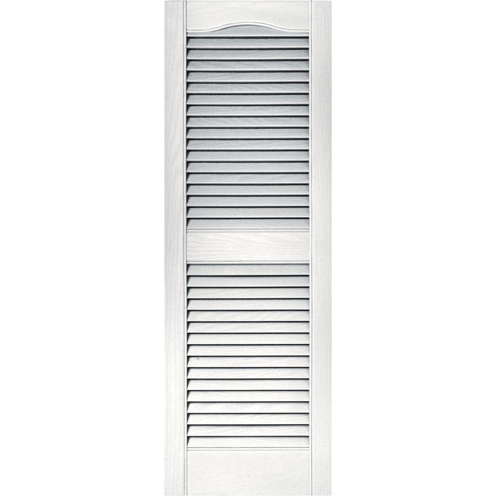 15 in. x 43 in. Louvered Vinyl Exterior Shutters Pair in