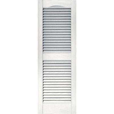 15 in. x 43 in. Louvered Vinyl Exterior Shutters Pair in #117 Bright White