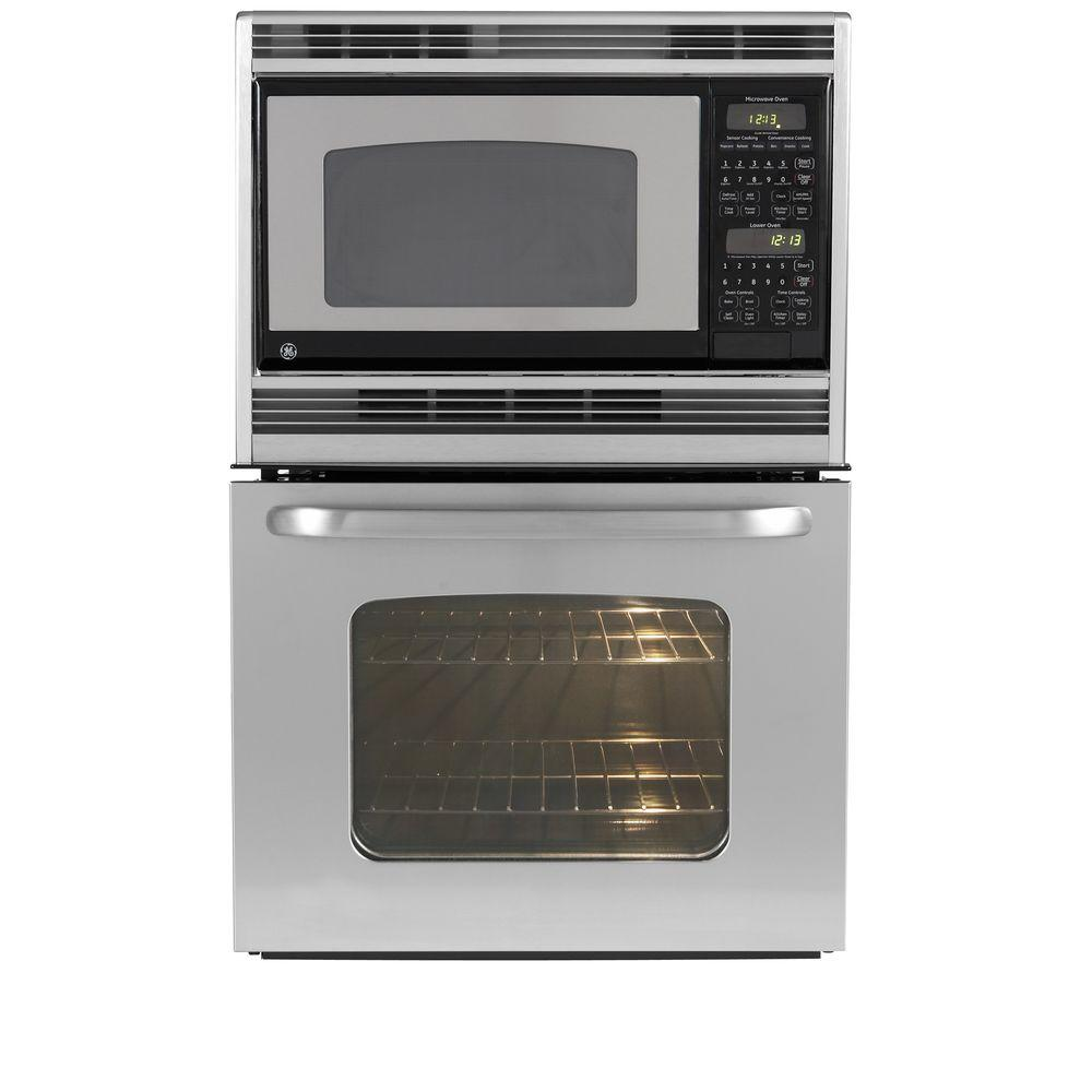 GE 27 in. Electric Wall Oven with Built-In Microwave in Stainless Steel