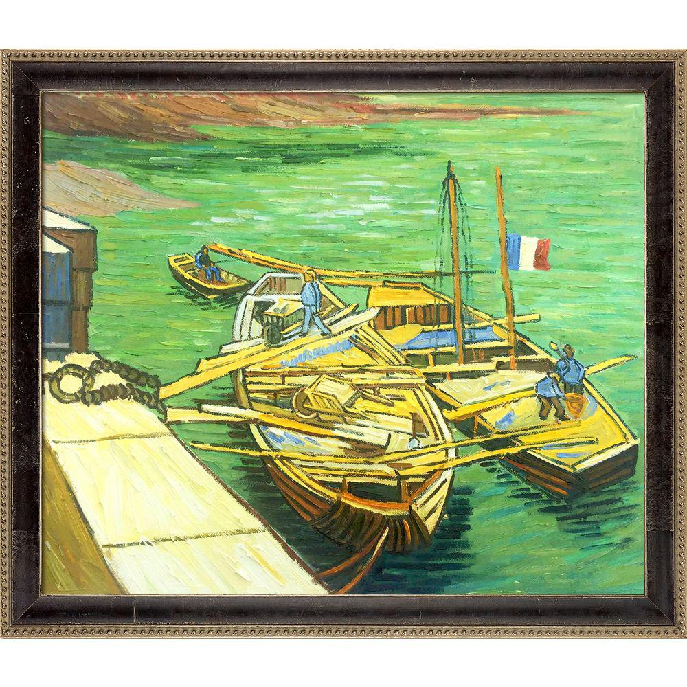 LA PASTICHE Boats Du Rhone with Antiqued Athenaeum Scoopby Vincent Van Gogh Framed Abstract Wall Art 23.5 in. x 27.5 in., Multi-Colored was $1048.0 now $437.06 (58.0% off)