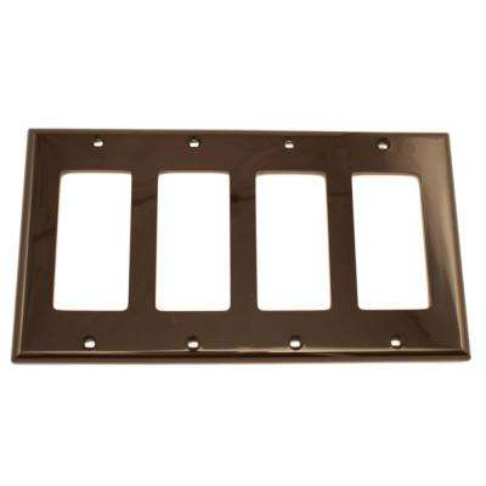 4-Gang Decora Nylon Wall Plate, Brown