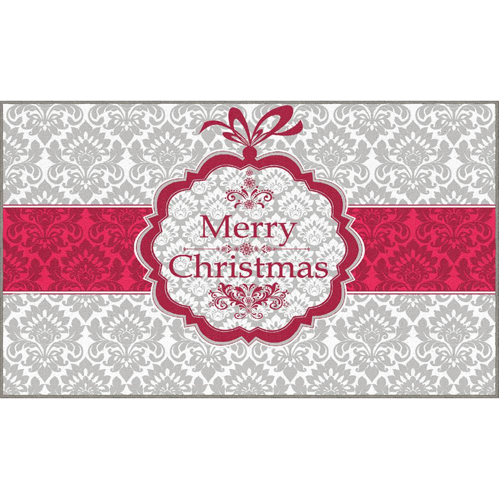 Mohawk Home Christmas Damask Gray 1 Ft 6 In X 2 Ft 6 In Scatter Area Rug 080844 The Home Depot