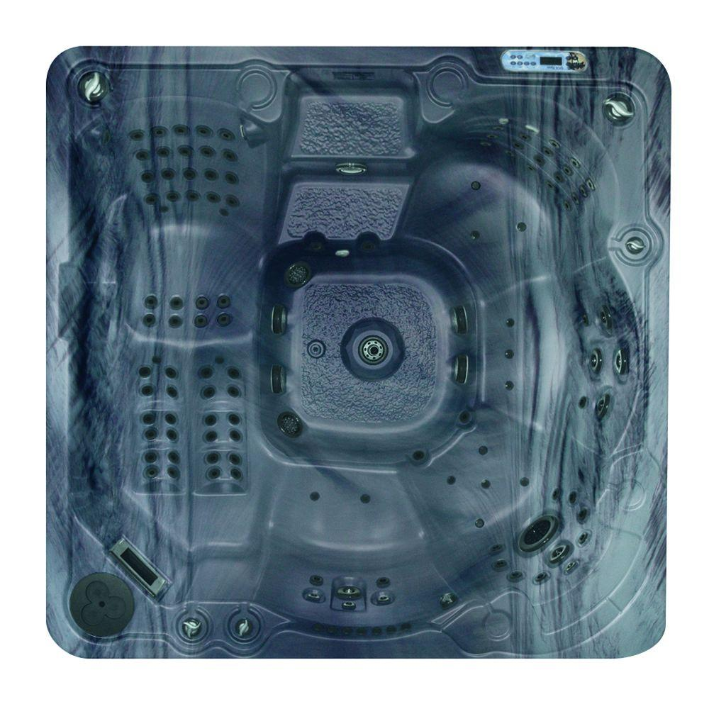 QCA Spas Athens in Storm Cloud 6-Person 144-Jet Spa with (2) 5.2 BT HP Pumps, Waterfall and Free Energy Saver Package