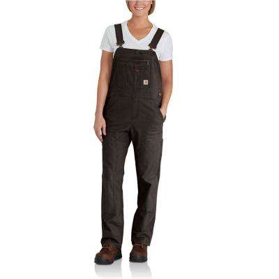Women's X-Small Tall Dark Brown Cotton/Spandex Crawford Double Front Unlined Bib Overalls