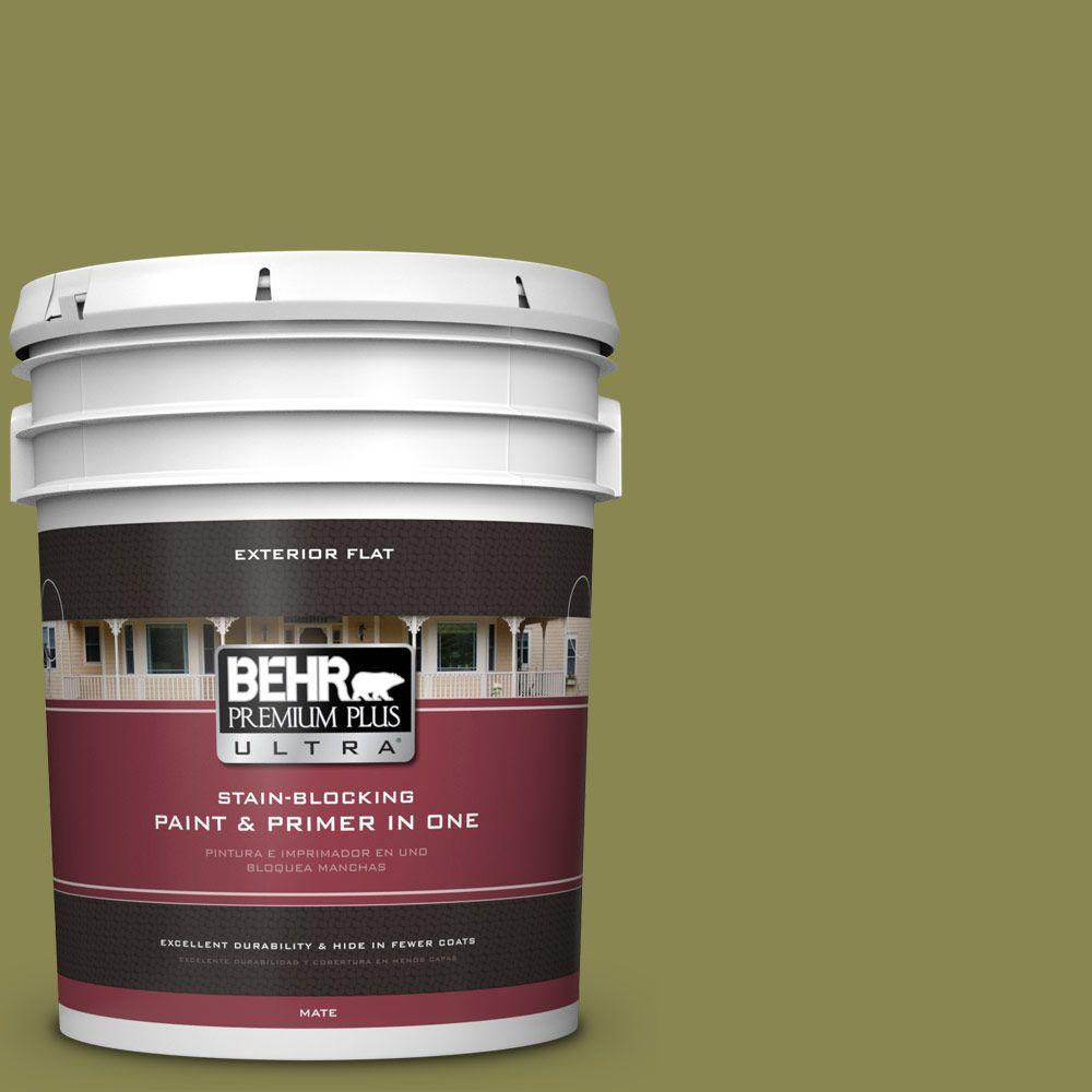 BEHR Premium Plus Ultra 5-gal. #T15-18 Snap Pea Green Flat Exterior Paint