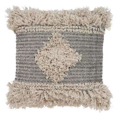 Cottage Natural and Black 20 in. x 20 in. Throw Pillow