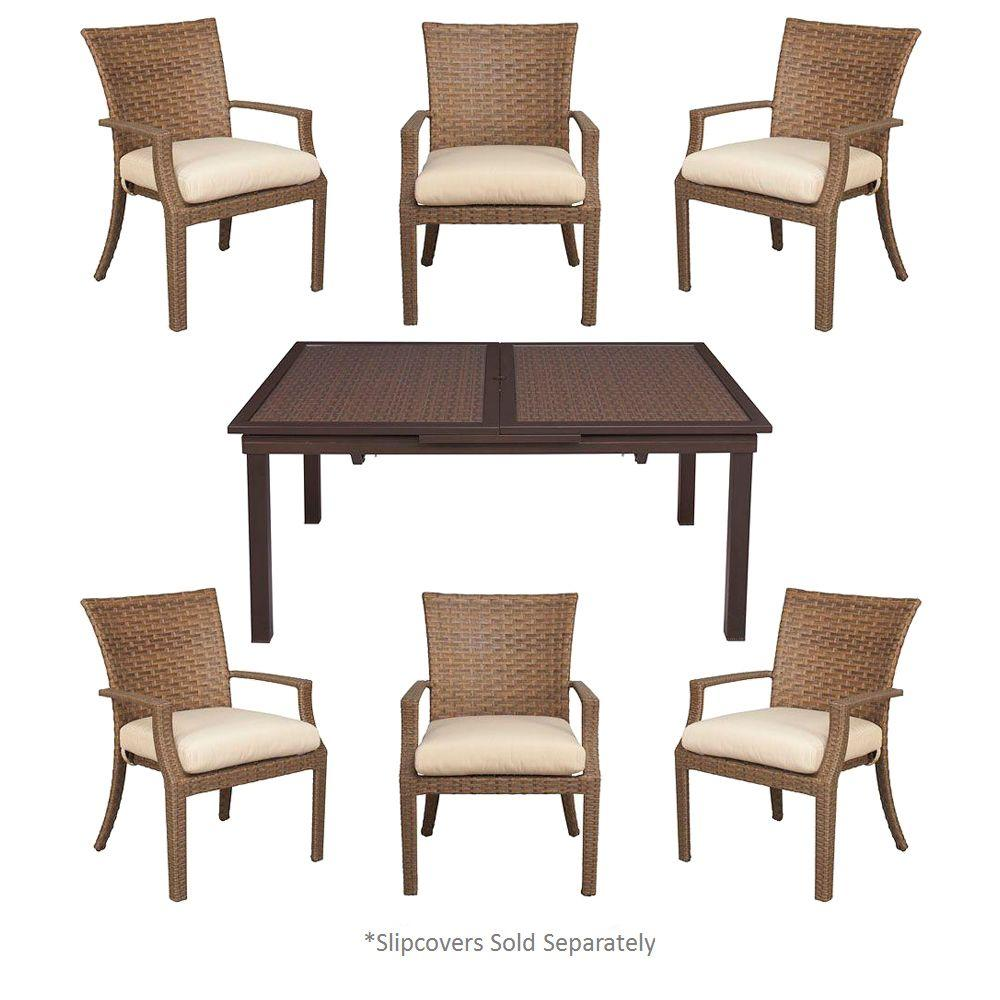 Hampton Bay Tobago 7 Piece Patio Dining Set With Cushion Insert (Slipcovers  Sold Separately