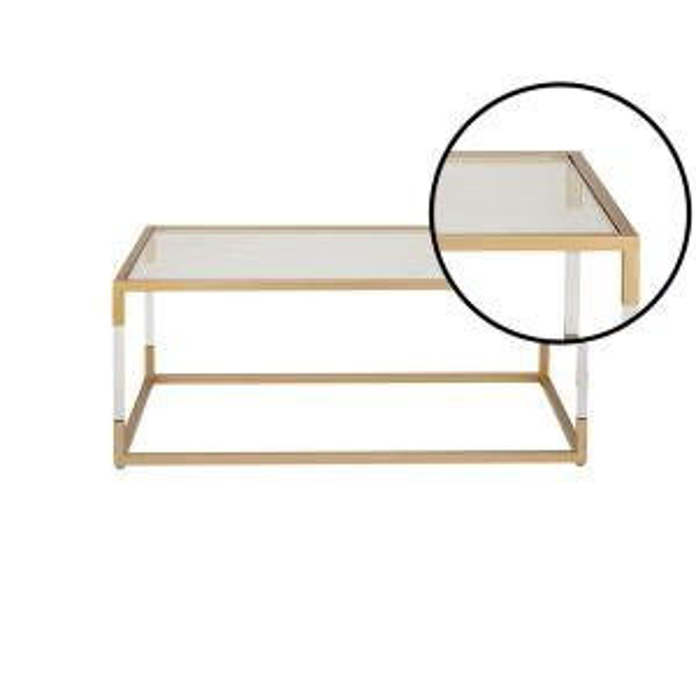 Internet #302852341. Litton Lane Clear And Metallic Gold Coffee Table