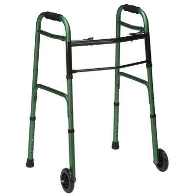 Two-Button Release Folding Walker with Wheels in Green/Green Ice