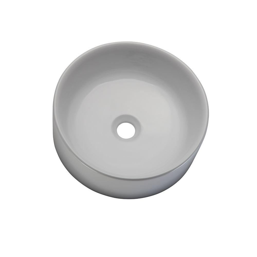 DECOLAV Classically Redefined Semi Recessed Round Bathroom Sink in White