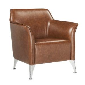 33 in. H Brown Leatherette Accent Chair with Track Armrest and Welt Trim Details