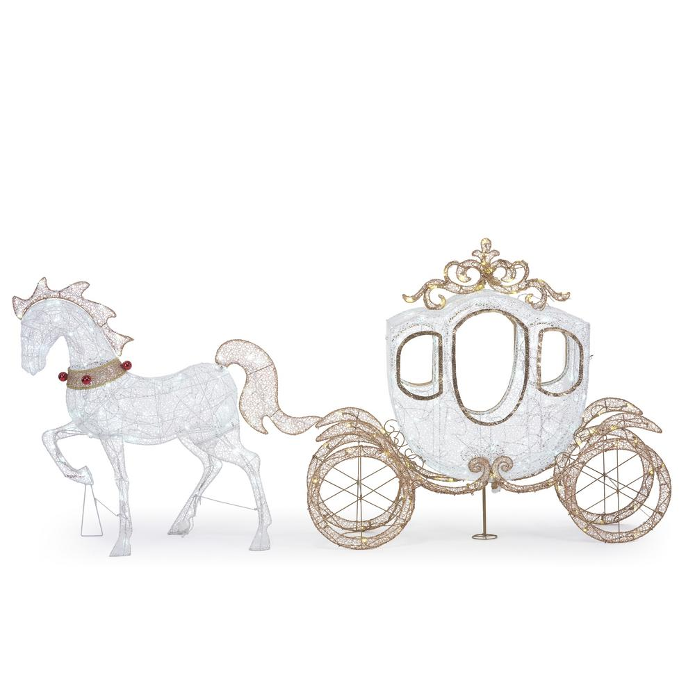 Christmas Horse Decorations.Home Accents Holiday 48 In Christmas Led Carriage And Horse