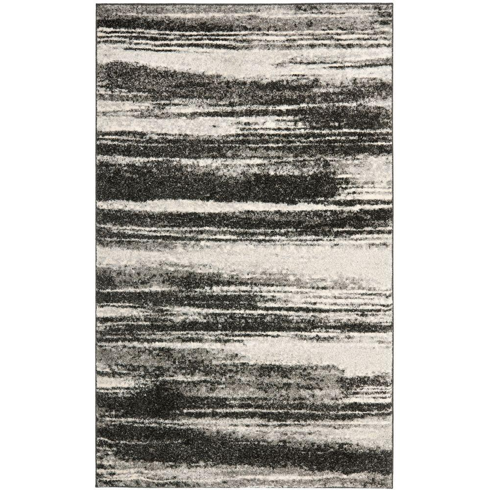 Retro Dark Grey/Light Grey 4 ft. x 6 ft. Area Rug