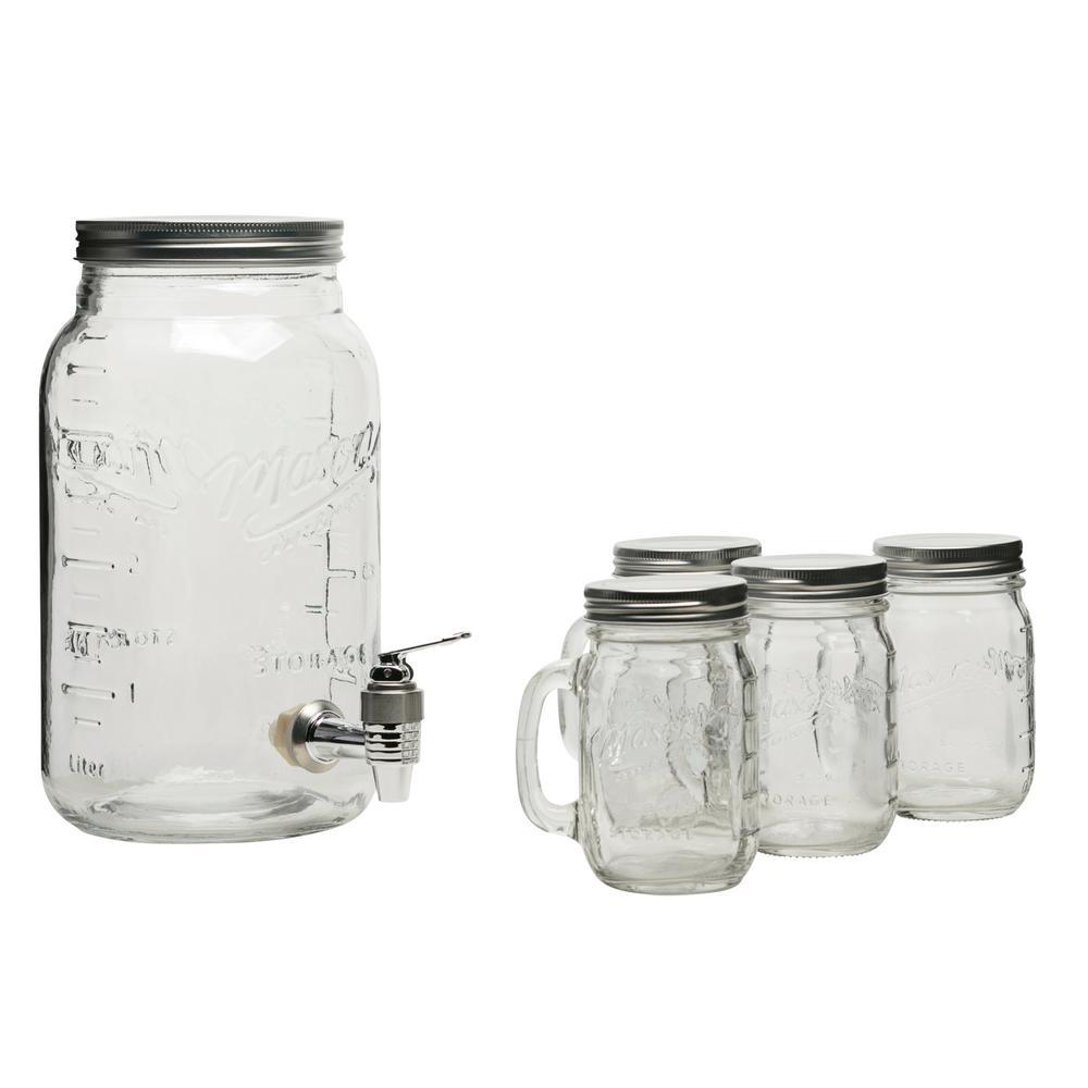 Serving 5-Piece Clear Glass Drink Dispenser Set
