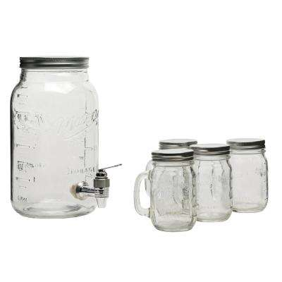 Serving 5-Piece Clear Glass Drink Dispenser Set
