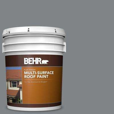 5 gal. #PFC-63 Slate Gray Flat Multi-Surface Exterior Roof Paint