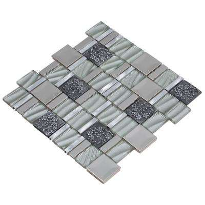 Vitray/03, Silver, 12 in. x 12 in. x 8 mm Glass/Metal/ Hand Painted Ceramic Mesh-Mounted Mosaic Tile, Tile Sample