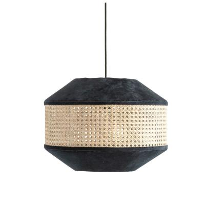 1-Light Navy Blue Pendant Light with Cotton Velvet and Cane Shade