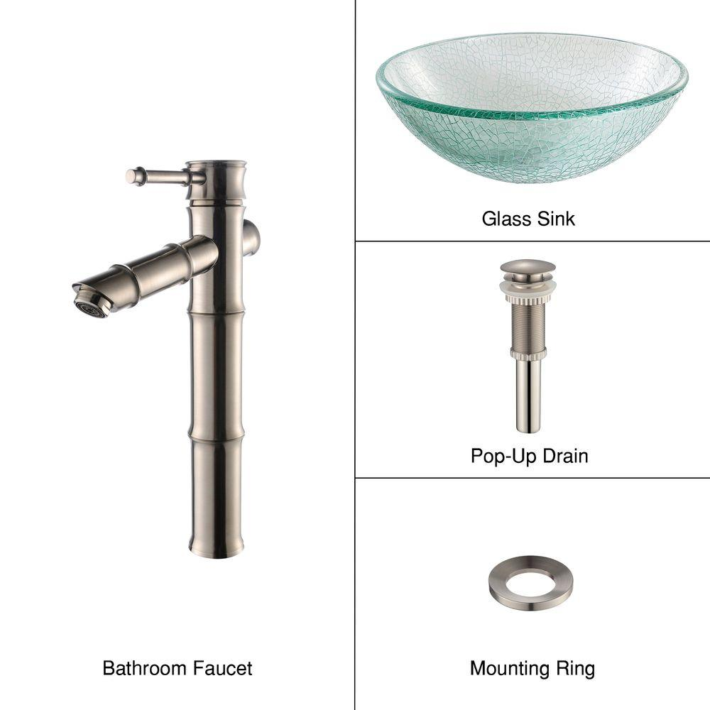 KRAUS Glass Bathroom Sink in Broken with Single Hole 1-Handle Low Arc Bamboo Faucet in Satin Nickel-DISCONTINUED