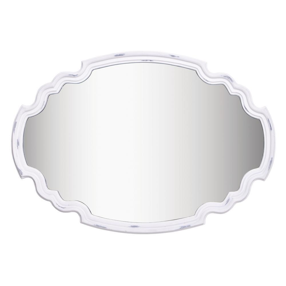 Medium Irregular Antique White Finish Antiqued Mirror (24.5 in. H x 35.5 in. W)