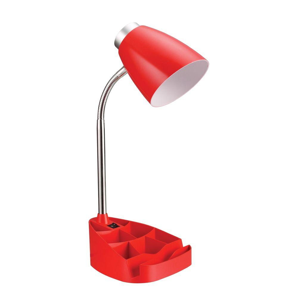 Gooseneck Red Organizer Desk Lamp With Ipad Tablet Stand Book Holder