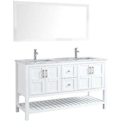 Sohia 60 in. Double Vanity in White with Marble Vanity Top in Carrara White with White Ceramic Basins and Mirror