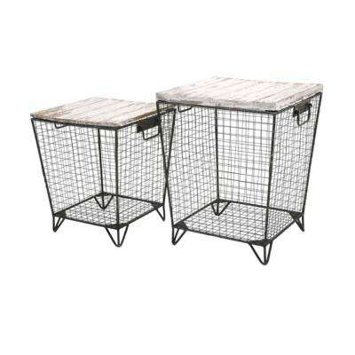Ava Cage Grey Tables (Set of 2)