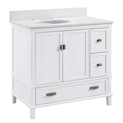 Irving 36 in. W Bath Vanity in White with Ocean Mist Engineered Stone Vanity Top with Pre-Installed Porcelain Basin