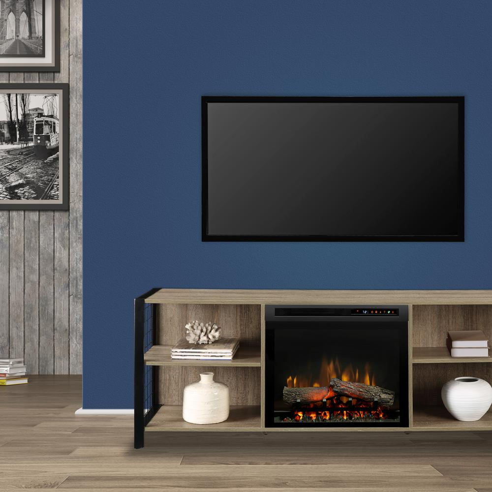 Dimplex Asher 65 in. Electric Fireplace with Logs in Tudor Oak with 23 in. Media Console