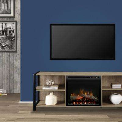 Asher 65 in. Electric Fireplace with Logs in Tudor Oak with 23 in. Media Console