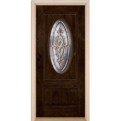 37.5 in. x 81.625 in. Silverdale Brass 3/4 Oval Lite Stained Chestnut Mahogany Right-Hand Fiberglass Prehung Front Door