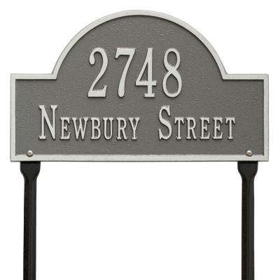 Arch Marker Standard Pewter/Silver Lawn 2-Line Address Plaque