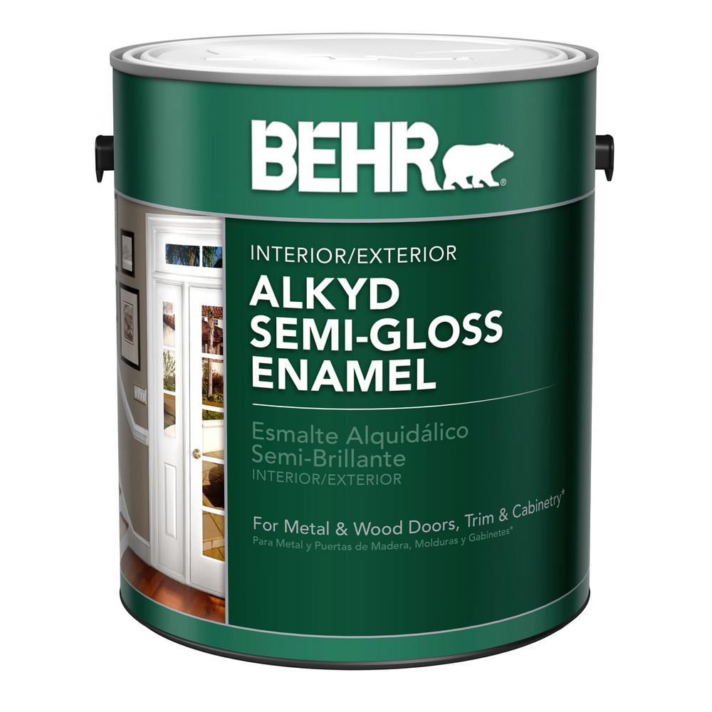 Behr 1 Gal White Alkyd Semi Gloss Enamel Alkyd Interior Exterior Paint 390001 The Home Depot