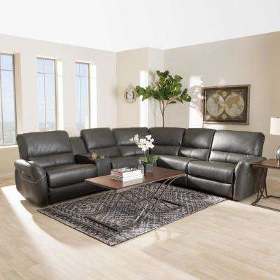 Amaris 5-Piece Grey Leather Reclining Sectional