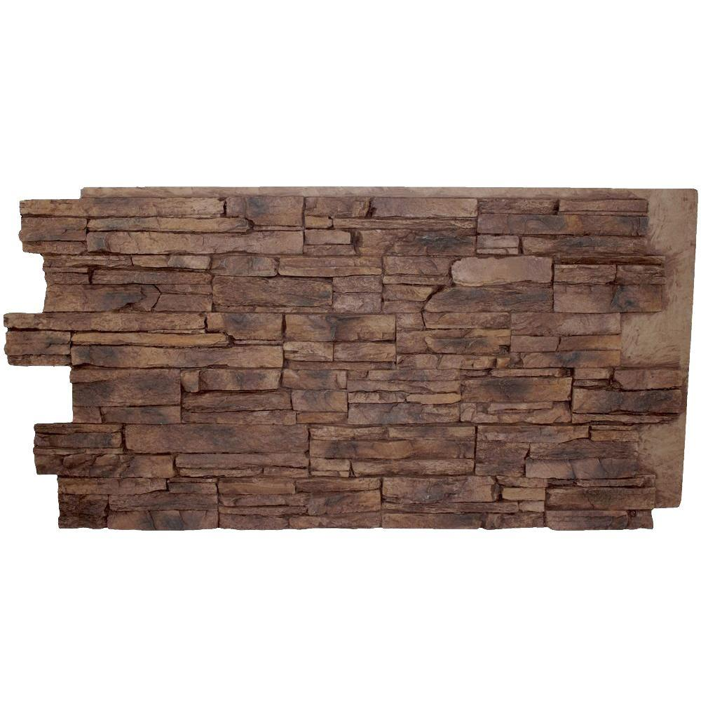 Superior Building Supplies Grand Heritage Stack 24 in. x 48 in. x 1-1/4 in. Faux Stone Panel Adobe Brown With this Tennessee Stack Stone Panel you get the beauty of stone flooring at an affordable price. This panel covers 7 sq. ft. and can be cut easily with a hand or electric saw and installed with glue and screws. It recreates the natural look of stone with features of being durable, lightweight and easy to clean. This is perfect for backsplash, an interior accent wall, outdoor kitchen or exterior building makeover. The high density polyurethane panels fit together in an advanced interlocking system. Color: Adobe Brown.