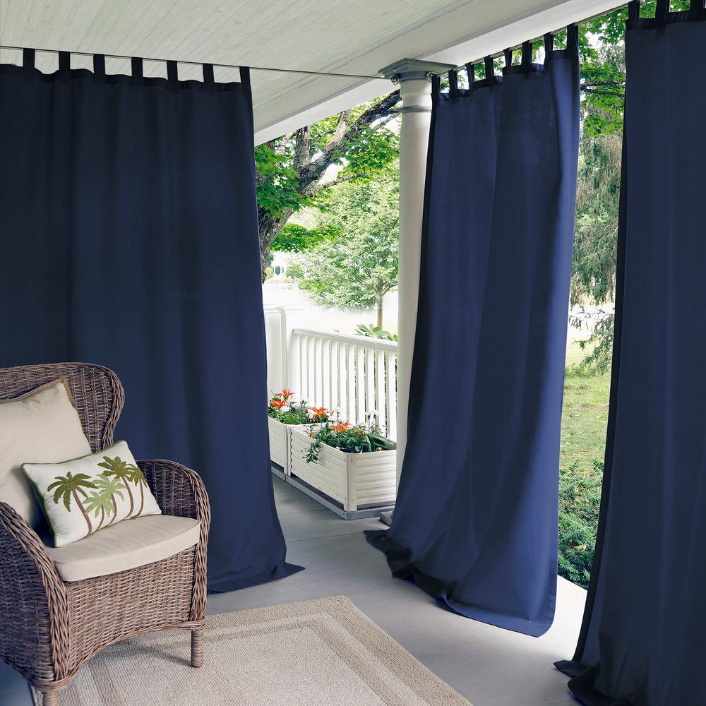 Elrene Matine Solid Tab Top Indoor Outdoor Window Curtain