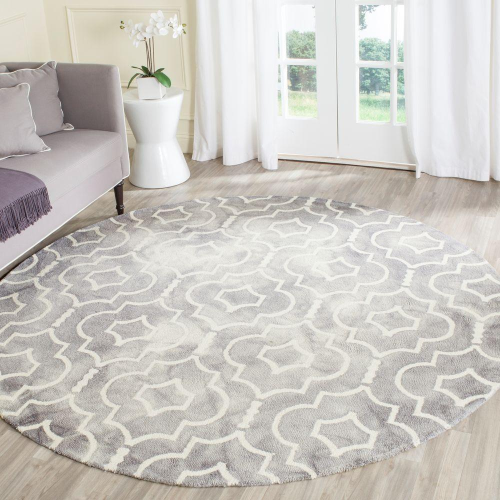 Safavieh Dip Dye Grey Ivory 7 Ft X 7 Ft Round Area Rug Ddy538c 7r