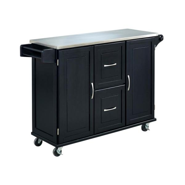 Patriot Black Kitchen Cart with Stainless Top