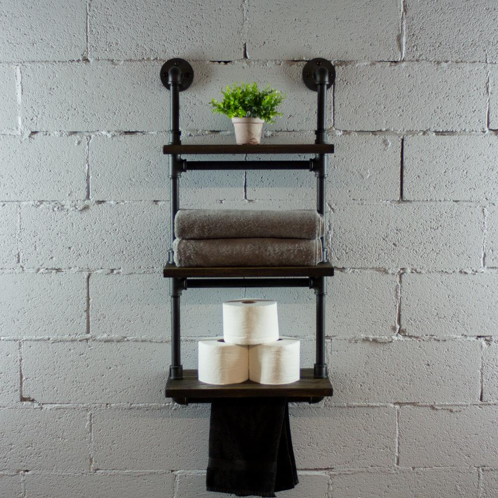 Black Steel Pipe Three Tiered Hanging Wall Shelf