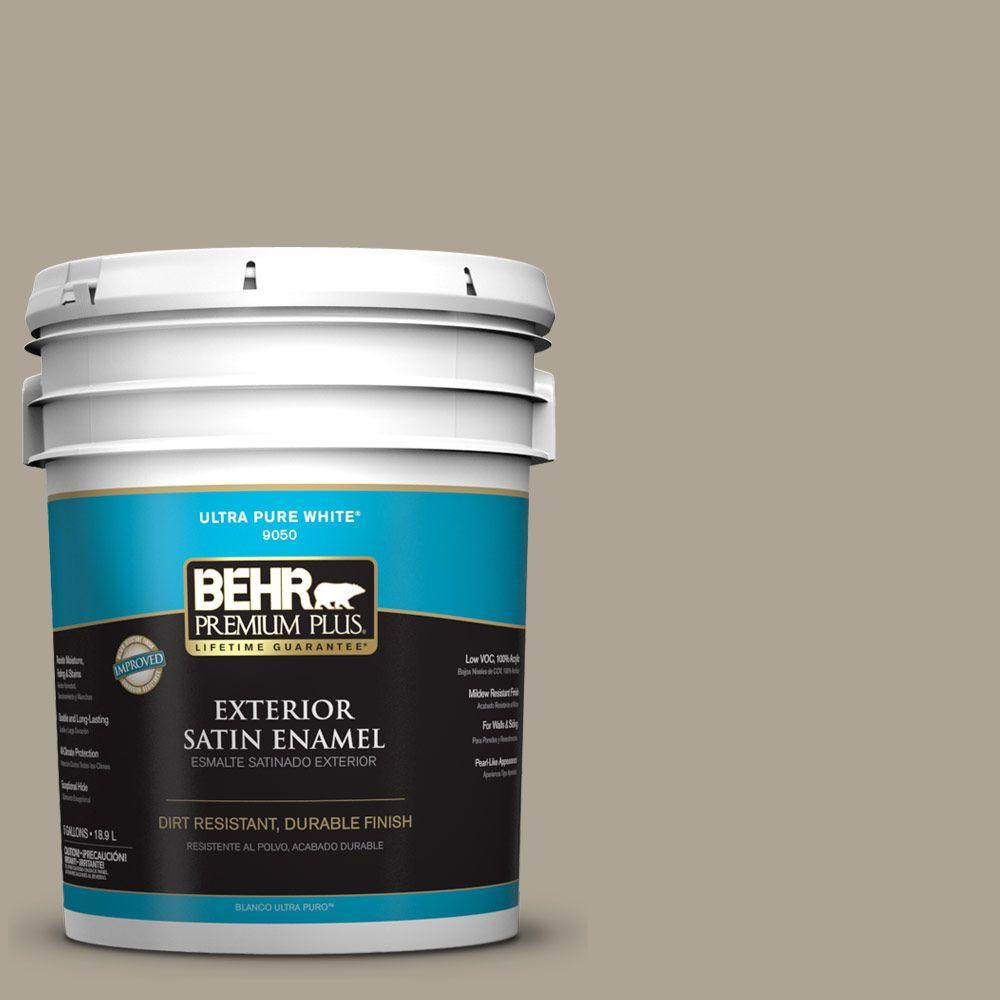 BEHR Premium Plus Home Decorators Collection 5-gal. #HDC-NT-14 Smoked Tan Satin Enamel Exterior Paint