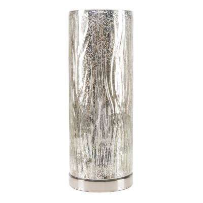 16 in. Silver Glass Uplight Lamp with Tree Bark Pattern Shade