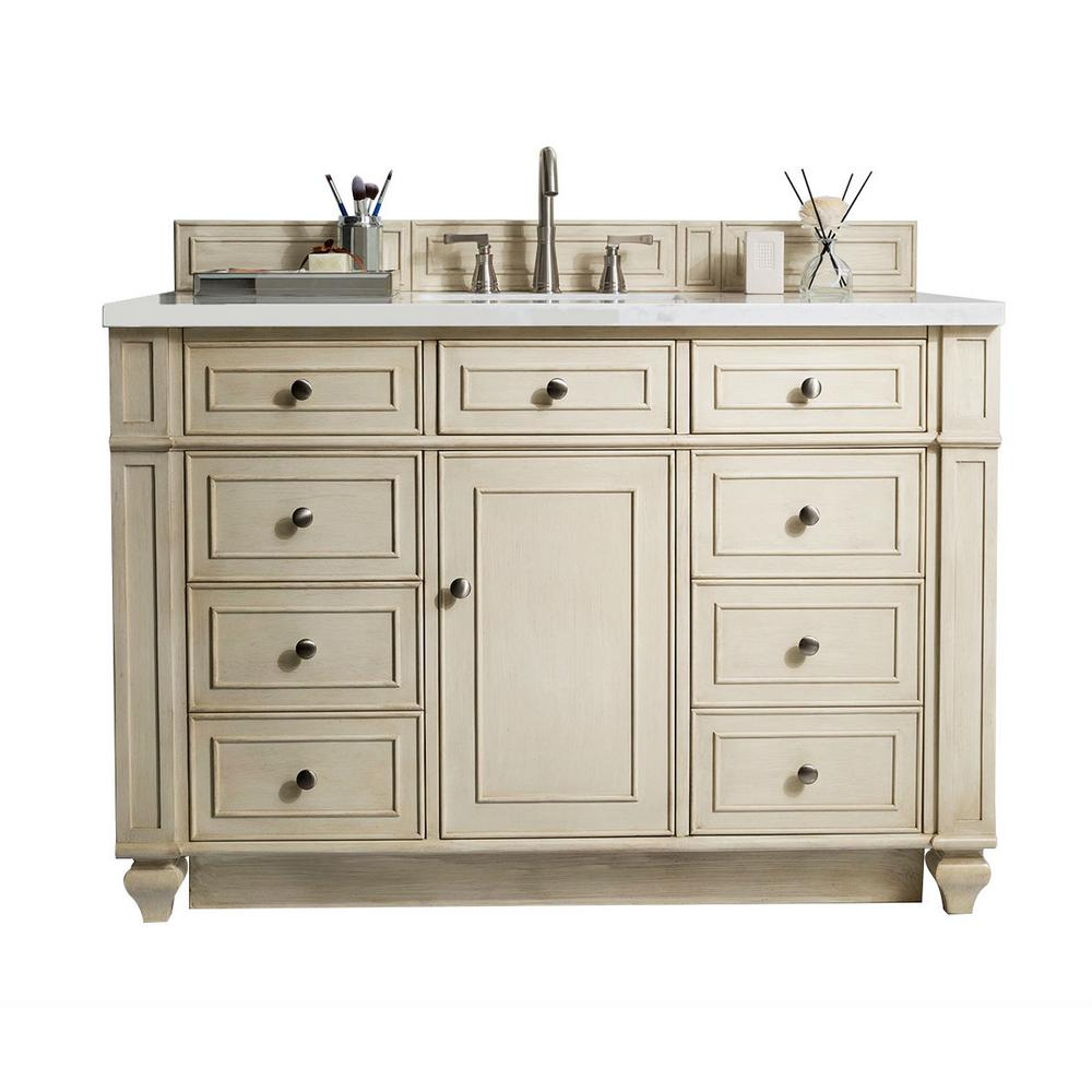 W Single Vanity In Vintage Vanilla With Quartz Top White Basin