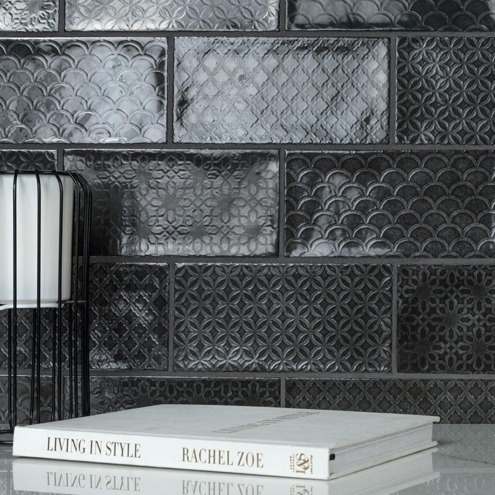 Camden Decor Nero 4 in. x 8 in. Ceramic Wall Tile (11.9 sq. ft./Case)